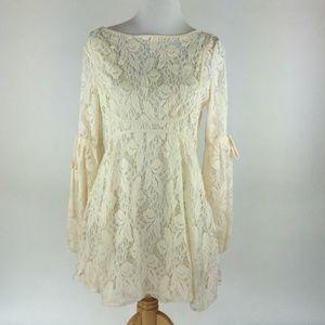 Free People Cream Boho Lace Dress Size Small New